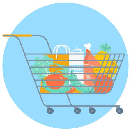 Shopping cart with supermarket food. Vector illustration