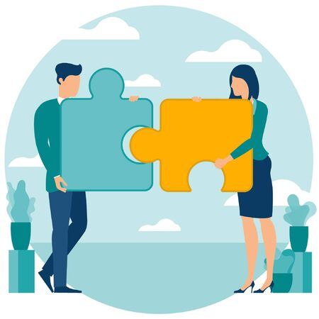 Vector illustration of business people are solving puzzle. Business strategy solution and teamwork vector concept with flat design characters. Blue template for presentation, web site and mobile app. 向量圖像