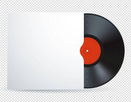 Vektor-Illustration der Musik-Vinyl-Schallplatte mit rotem Etikett. Realistisches detailliertes Bild der Retro-Musikdiskette der Weinlese lokalisiert auf weißem transparentem Hintergrund. Vektorgrafik