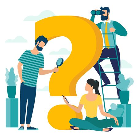 Young man and woman young man  are solving problem. Question mark, looking for solution. Flat design vector illustration for presentation, infographics and mobile app. Illustration