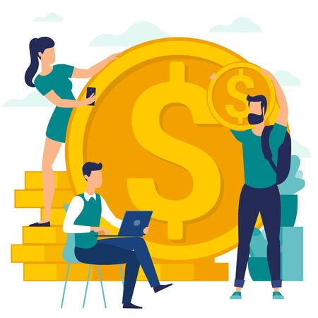 Flat design vector illustration of people are making money. Vector flat template for financial services, bankers are engaged in work, saving or accumulating money, investment an savings.