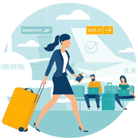 Flat design illustration of young man and women travellers at airport departure area waiting for flight. Webpage promotion and advertising template concept. Ilustrace