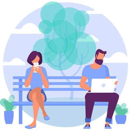 Young people are seating at the bench in city park with mobile gadgets. Flat design vector illustration, vector template for web site, presentation and mobile app. Иллюстрация