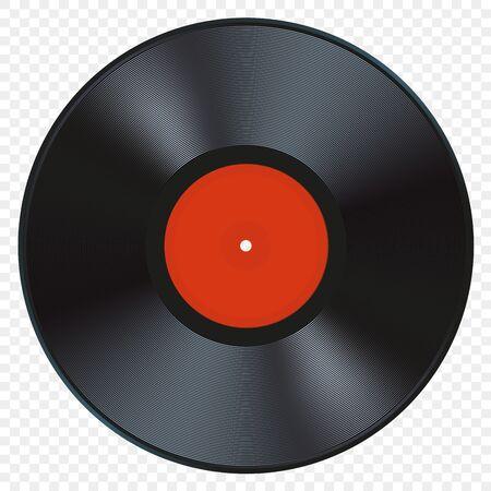 Illustration vectorielle de disque vinyle de musique avec couvercle blanc vierge et étiquette rouge. Image détaillée réaliste du disque de musique rétro vintage isolé sur fond transparent blanc.