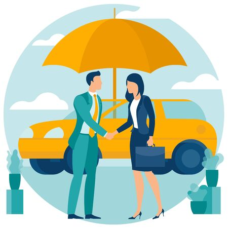 Flat design vector concept for car insurance, auto protection with umbrella. Illustration template of automobile safety icon for poster, banner, web graphics, landing page, infographics and mobile app. 向量圖像