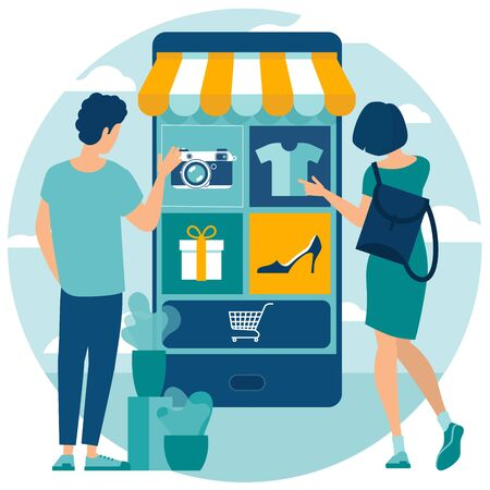 Flat design  vector illustration of online and mobile  shopping with people characters, for  digital marketing,  business strategy and analytics. Trendy vector  concept for website and mobile app.