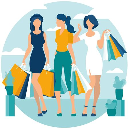 Flat design vector illustration of young women enjoy shopping. Vector concept for  poster, banner, web design, page, infographics and mobile app. 向量圖像