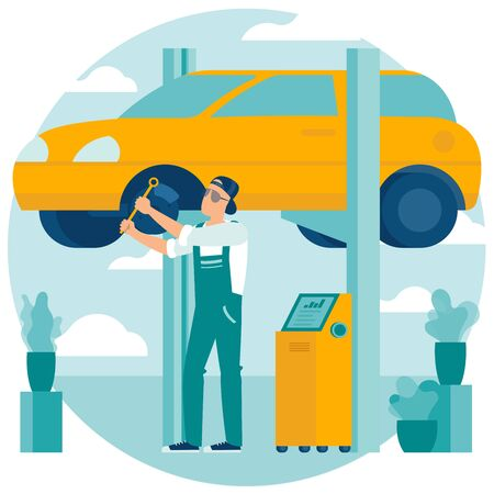 Flat design illustration of car service. Cartoon concept repairing the car, tire service, vehicle  diagnostics, spare parts. Vector template for banner, poster, inographics, web page and mobile app. Ilustração