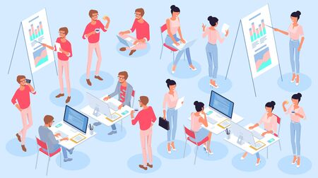 Flat design isometric vector young men and  women character business and office professional activities, jobs and poses set. Trendy color concept of  teamwork for presentation, website and app design. Illustration