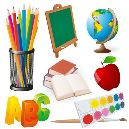 School objects set. Collection of school supplies. Pencils, blackboard, globe, books, paints and brush, red apple icons for poster, banner, decoration and web applications.