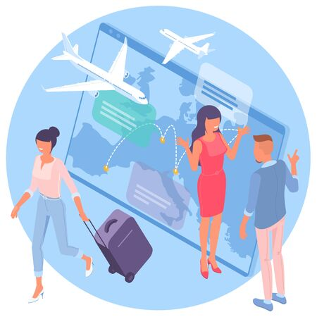 Flat design isometric vector illustration for airline flight booking service advertisement, web application and mobile app template.