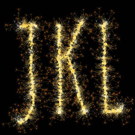 Bengal lights golden glittering sparks leters set. Vector shining golden figures of sparkles and stars on black background.