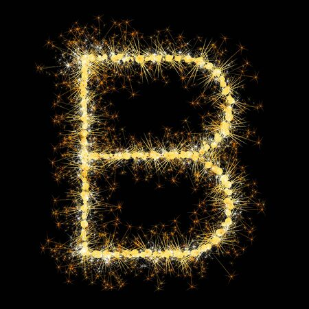 Bengal lights golden glittering sparks letters set. Vector shining golden figures of sparkles and stars on black background.