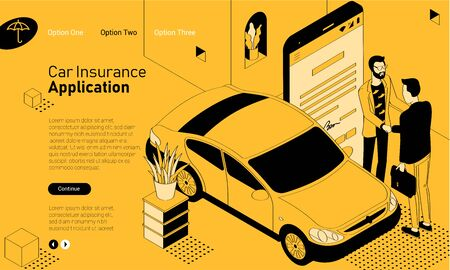 Car insurance mobile app isometric website template. Black and yellow flat design vector concept for web site and application design and presentation. Home page concept. UI design mockup. Stok Fotoğraf - 131963565