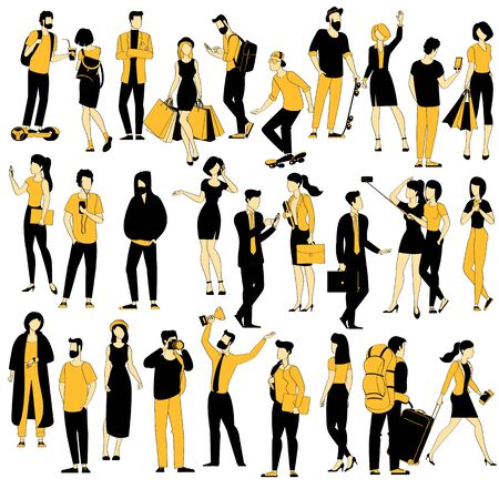 Black and yellow ink graphics flat design people character set.