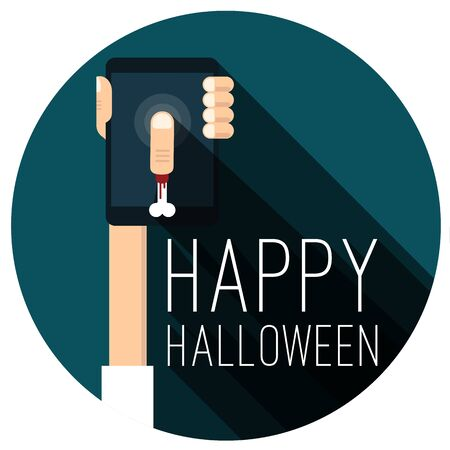 Halloween party. Happy Halloween vector flat design sticker, banner and icon mock up.
