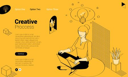 Girl is siting in lotus position with lap top. Concept of creating new ideas. Flat design isometric vector concept for web site and application design and presentation. UI design mockup. 向量圖像