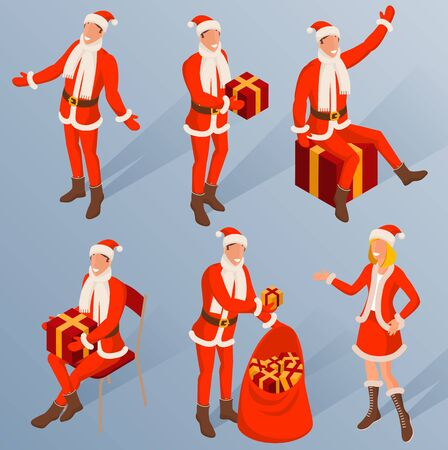 Isometric characters of young Santa. Various poses and actions. Christmas and New Year design element set.