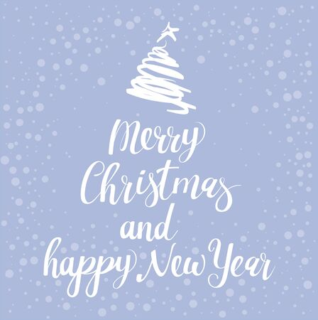 Merry Christmas calligraphic lettering inscription decorated with New Yerar tree. Vector tenplate for Christmas greeting card, banner, web page and mobile app.