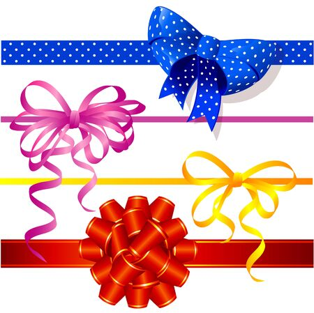 Christmas and New Year gift ribbons and bow vector design elemtnt collectiron.