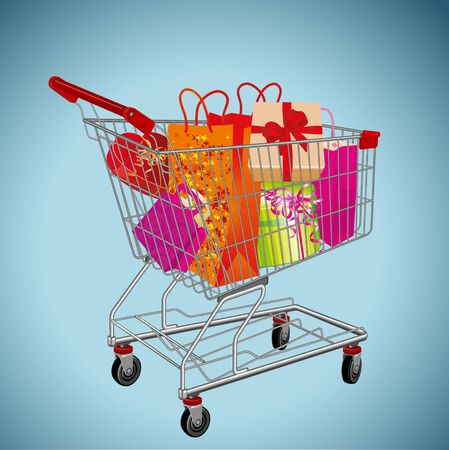 Shopping supermarket cart loaded with Christmas and New Year gift boxes. High detailed vector illustration for web page, mobile app, banner, poster and invitation card.