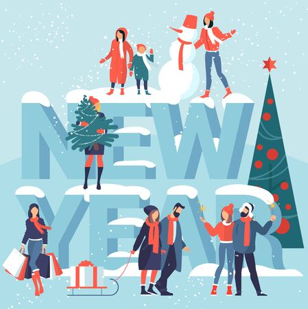 Vector illustration of people are preparing for the new year and christmas celebration. Gift shopping, bengal lights, winter outdoor activities, christmas tree and snowman. Vector mock up