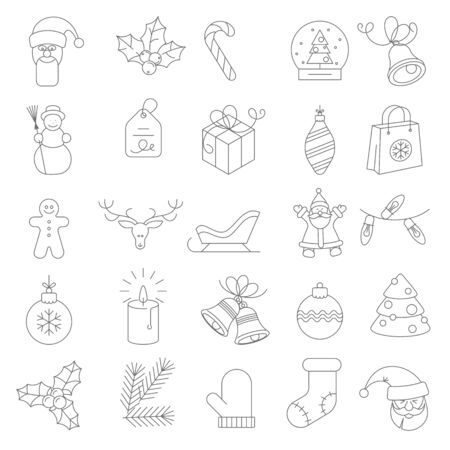 Thin line flat design Christmas and new year icon set. Vector illustration. 向量圖像