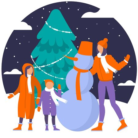 Christmas concept illustration of mother a nd children outdoor with a snowman and New Year tree. Young women, boy and girl standing near big Christmas tree.