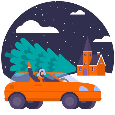 Christmas concept illustration of young man driving car with christmas tree. Flat design template for banner, poster, greeting card, web page and mobile app.