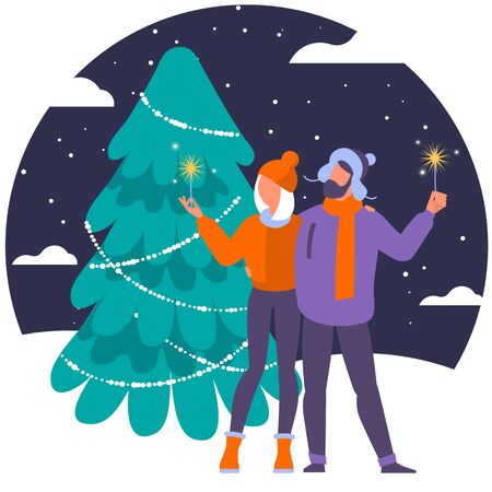 Christmas concept illustration of young people with bengal lights and New Year tree. Flat men and women standing near big Christmas tree with gift box.
