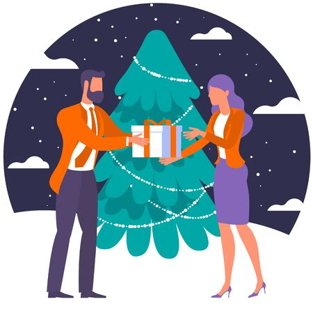 Christmas gifts and presents concept illustration of young people presenting New Year gift. Flat men and women standing near big Christmas tree with gift box. 向量圖像