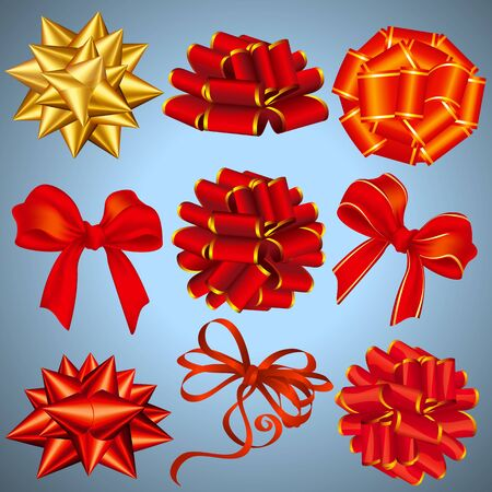 Red and golden gift bows and ribbon design elements and icons vector set.