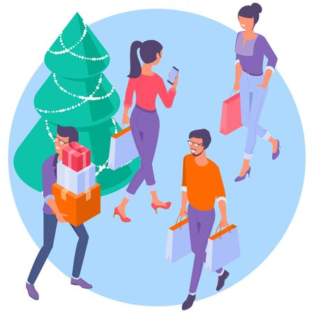 Chreistmas and new year sale shopping isometric people.