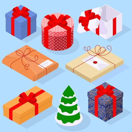 Flat design isometric gift box and wrapped gifts with red ribbons and bow desitn elements and icon set for Christmas and New Year greeting card, poster, banner, web page and mobile app