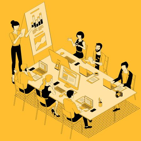 Black and yellow flat design isometric vector illustration of business communication in modern office. Trendy color template for teamwork and workflow for presentation, website and app design. 向量圖像