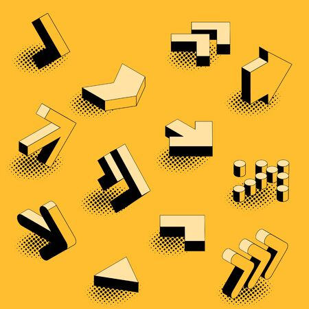 Flat design black an yellow retro comic style isometric arrow icon set. 向量圖像