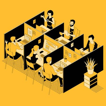 Isometric flat 3d abstract office interior glsck and yellow flat design vector illustration. 向量圖像