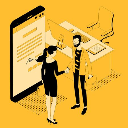 Electronic contract signature, contract page on screen. Business people, man and woman shaking hands for agreement. Man and woman . Flat design isometric vector illustration concept. Stock Vector - 134958172
