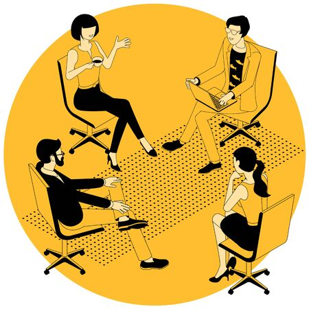 Flat design isometric vector concept for group therapy session. sitting in a circle. People participating in group therapy for social skills training.