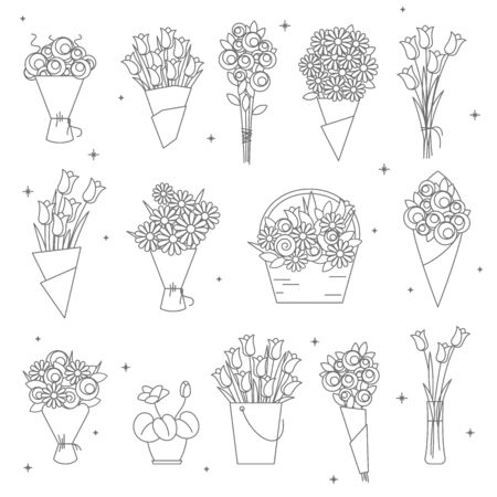 flowers and bouquet thin line icon set