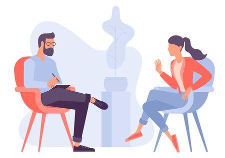 Concetto di vettore di design piatto per sessione di psicoterapia. Paziente con psicologo, ufficio psicoterapeuta. Sessione di psichiatra in clinica di salute mentale.