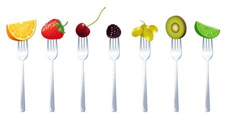 Frutas crudas jugosas frescas en las horquillas, concepto de vector vegetariano de alimentación saludable dieta. Naranja, fresa, cereza, mora, uva, kiwi y lima. Ilustración de vector