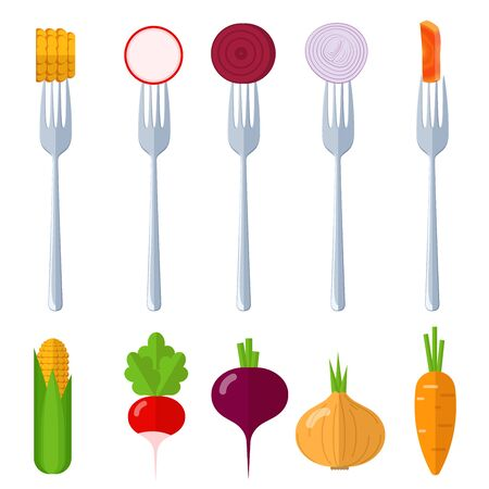 Fresh juisy raw vegetables on the forks, diet healthy eating vegetarian vector concept. Sweet corn, beets, onions, carrots, radishes Vettoriali