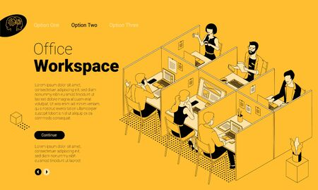 Flat design isometric landing page vector concept for modern office coworking space. Company stuff working in office cabins. Flat design vector template for web banner, web page and mobile app. Banque d'images - 140286874