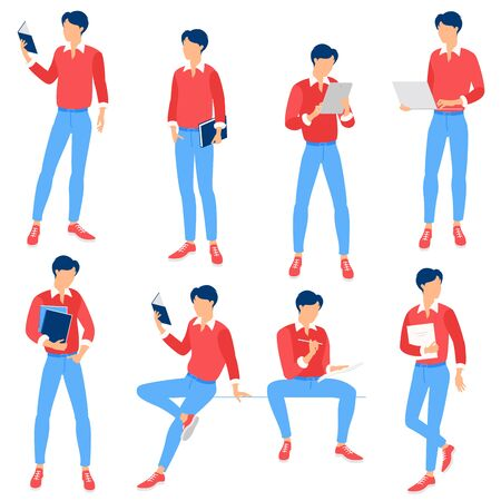 Flat design vector collection ready to animation education people poses and activityes for web page and mobile app. Illustration
