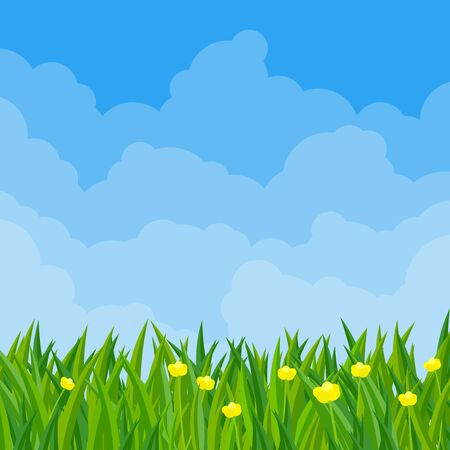Spring meadow flowers flat design vector illustration. Vector background template for banner, landing page, website.