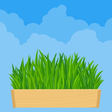 Nowruz. Persian new year, Nauryz. Holiday Nowruz, Happy Nowruz, vector illustration. Spring fresh grass on the bright cloudscape vector background.