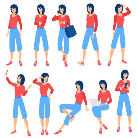 Flat design vector collection ready to animation young womwn poses and activityes for web page and mobile app.
