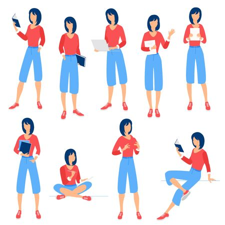 Flat design vector collection ready to animation people poses and activityes for web page and mobile app. Illustration