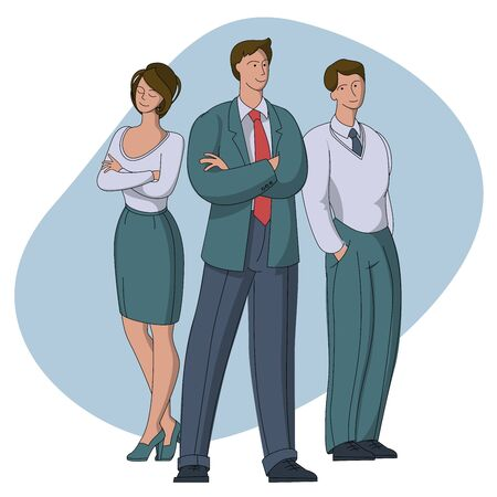 Team leader boss stand out business people office workers. Flat design vector leadership concept with cartoon characters. Vector illustration concept for web landing page, banner, card.
